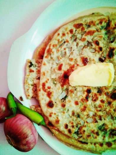 Stuffed Onion Paranthas (Indian Flatbread)