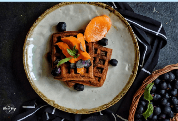 Eggless Oatmeal and Flax Seed Waffles