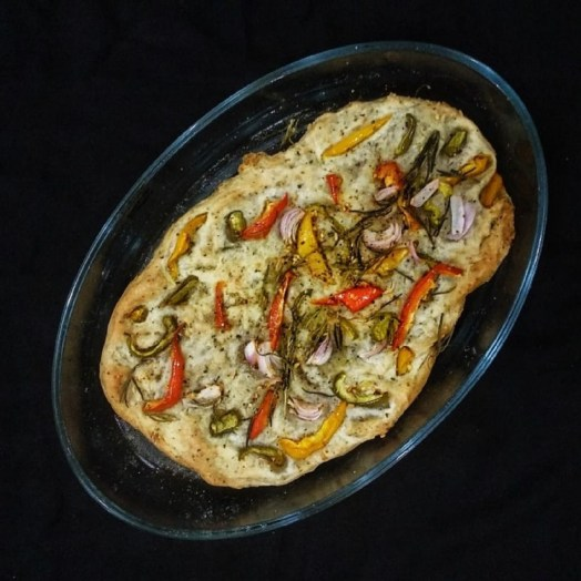 Bell Pepper, Olive and Rosemary Focaccia