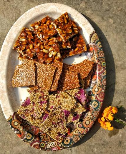 Gazzak/Gur Chikki (Jaggery and Nuts Barks)