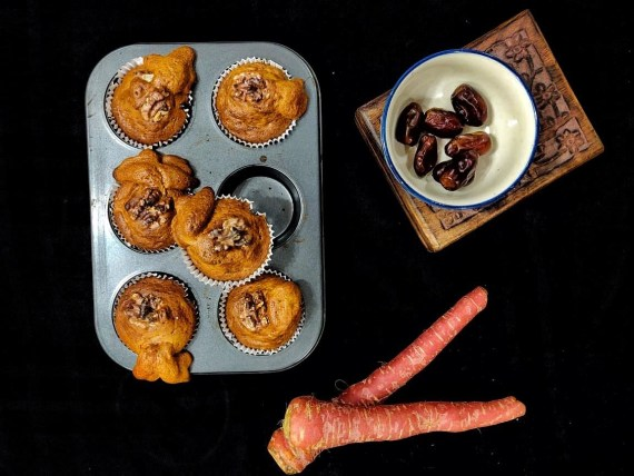 Bajra, Carrot and Date Muffins