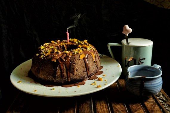 Eggless Ragi Dark Chocolate & Orange cake