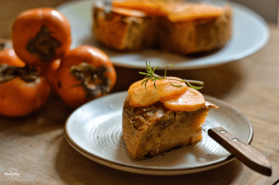 Eggless Upside Down Persimmon & Olive Oil Cake